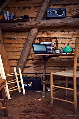 Bates's desk and laptop