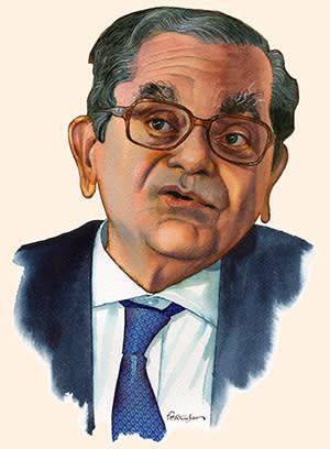 Illustration by James Ferguson of Jagdish Bhagwati
