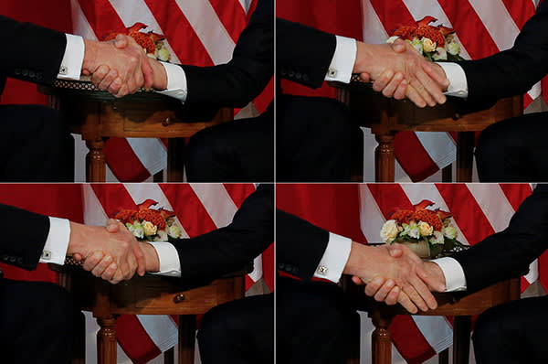 A combination photo shows U.S. President Donald Trump (L) trying twice to let go of a handshake with France's President Emmanuel Macron (R) as Macron holds tight, before a working lunch ahead of a NATO Summit in Brussels, Belgium, May 25, 2017. REUTERS/Jonathan Ernst TPX IMAGES OF THE DAY