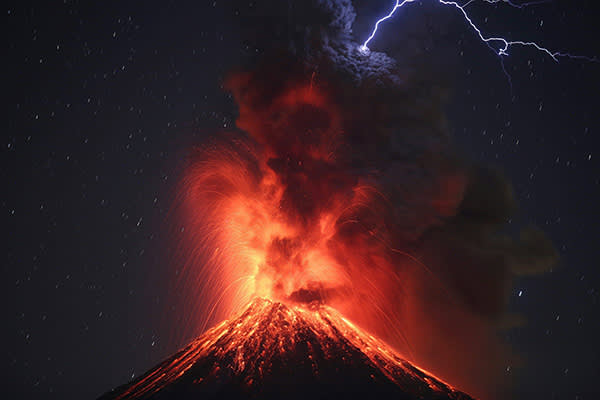 epaselect epa05753397 A picture taken with a slow shutter speed shows the Colima Volcano, the most active in Mexico, during an eruption as seen from the site of Carrizalillos, Colima, Mexico, 26 January 2017. The National Coordination of Civil Protection of the Ministry of Interior reported that since October 2016, the Colima volcano entered a mainly explosive stage of activity with irregular intervals, generating eruptive columns, with heights between one and four kilometers, sometimes with incandescent fragments launched one or two kilometers from the crater. EPA/ULISES RUIZ BASURTO
