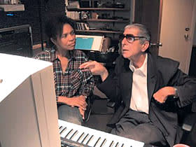 "Leonard Cohen and Sharon Robinson on the last day of production for ""Ten New Songs"", in her studio in Hollywood"