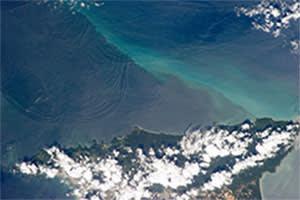 Satellite image of underwater waves