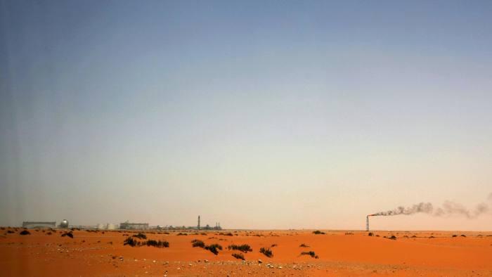 The Saudi Aramco oil installation known as 'Pump 3' in the desert near the oil-rich area Al-Khurais