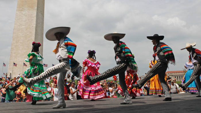Members of the Maru Montero Dance Company perform at the Sylvan Theater near the Washington Monument during the 18th Annual National Cinco de Mayo Festival in Washington Sunday, May 2, 2010