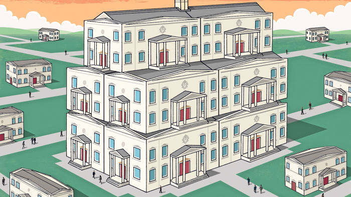 Illustration by Dan Mitchell of a multiple-storied house