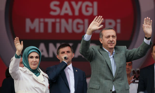 Prime minister Recep Tayyip Erdogan at a rally in June