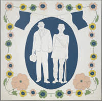 A painting of man and woman dressed as Olympic hockey officials