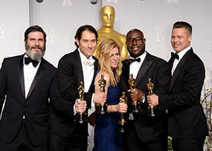 From left: Producers Anthony Katagas, Jeremy Kleiner, Dede Gardner, Brad Pitt and director Steve McQueen, win a Best Picture Academy Award for '12 Years a Slave'