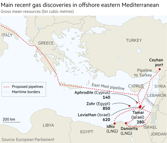 Gas discoveries and proposed pipelines Egypt, Israel, Cyprus map