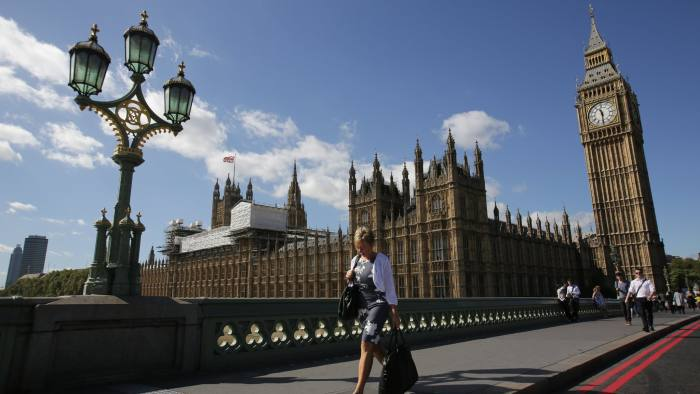 Scaffolding is seen on top of the Palace of Westminster which houses the Houses of Parliament in central London on September 8, 2016. Britain's lawmakers should move out of London's iconic Houses of Parliament for six years while the crumbling building is renovated to avert a crisis, a parliamentary report said on September 8. Behind its neo-Gothic facades topped by the world-famous Big Ben tower, the mother of parliaments has been eroded by air pollution and is overrun with mice, prompting warnings that it may have to be permanently abandoned unless urgent renovations are carried out. / AFP / Daniel Leal-Olivas (Photo credit should read DANIEL LEAL-OLIVAS/AFP/Getty Images)