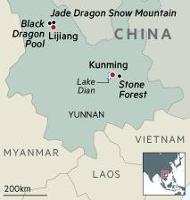 Map of Jade Dragon Snow Mountain, China