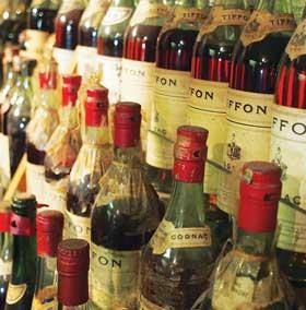 A library of vintage Tiffon cognacs