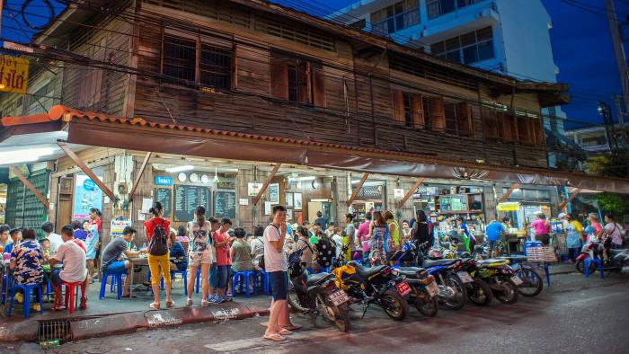Customers at the Jek Piek coffee shop in Hua Hin, Thailand
