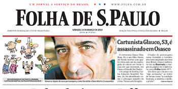 The newspaper that published Glauco's work, announcing his death; it subsequently left a blank space where its cartoons ran as a mark of respect