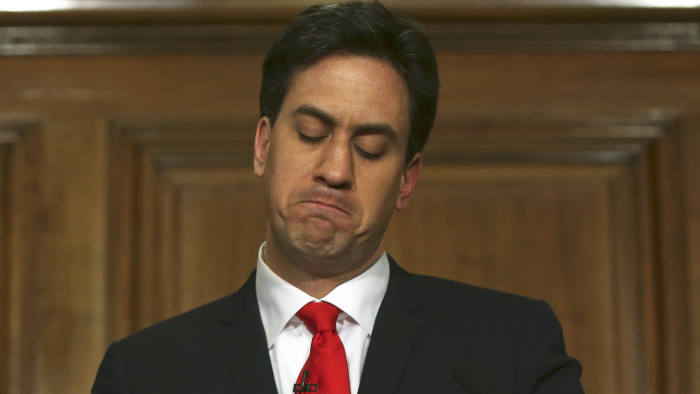 Ed Miliband announces his resignation as leader of the UK's opposition Labour party