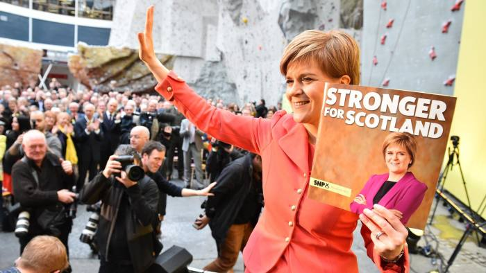 EDINBURGH, SCOTLAND - APRIL 20: SNP leader Nicola Sturgeon launches the Scottish National Party manifesto at the Edinburgh International Climbing Arena, EICA Ratho, on April 20, 2015 in Edinburgh, Scotland. Although Labour have rejected a coalition with the SNP, Sturgeon is expected to unveil policies that could lead to a power-sharing deal. (Photo by Jeff J Mitchell/Getty Images)
