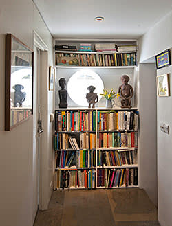 Bookcase in the lower-level living area