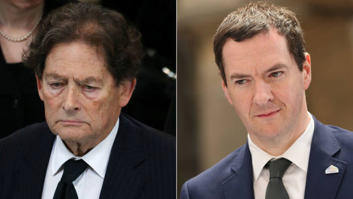 Lord Lawson, left, is urging chancellor George Osborne to use his first purely Tory Budget to cut the top rate of income tax