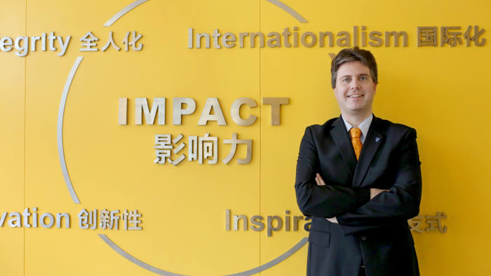 Dr Florian Dohlbacher, Associate Professor of Marketing and Innovation, poses at the International Business School Suzhou (IBSS) of XJTLU (Xi'an Jiaotong-Liverpool University) in Suzhou city, east China's Jiangsu province, 6 March 2015.