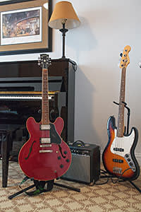 Guitars and a piano in Howard Lerman's Manhattan apartment
