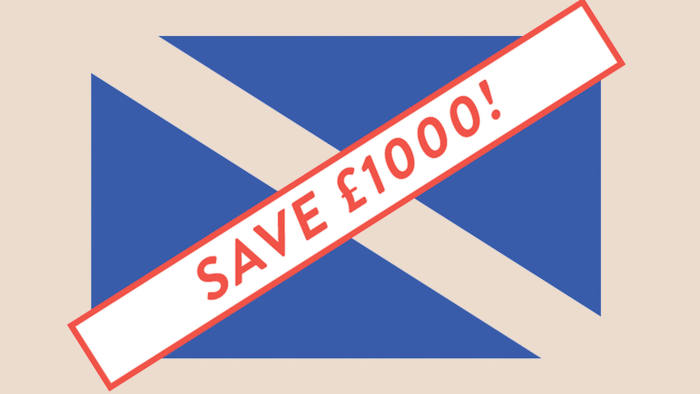 Illustration Harry Haysom of the UK flag superimposed by the dividend of staying in the union