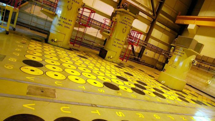 SELLAFIELD, UNITED KINGDOM: A yellow and black pattern shows full s (black) and additional space (yellow) at the temporar storage of High level radioactive nuclear waste at Sellafield nuclear plant in North England, 26 September 2002. The 3,8 square km site on the Cumbrian coast produces nuclear fuel for electricity as well as storing nuclear waste from several countries around the world. Local and international environment groups have called for the closure of the reactors claiming that the radiation levels are rising in the area due to pollution from the site into the sea as well as security concerns after the September 11 attack on New York. (Photo credit should read ODD ANDERSEN/AFP/Getty Images)