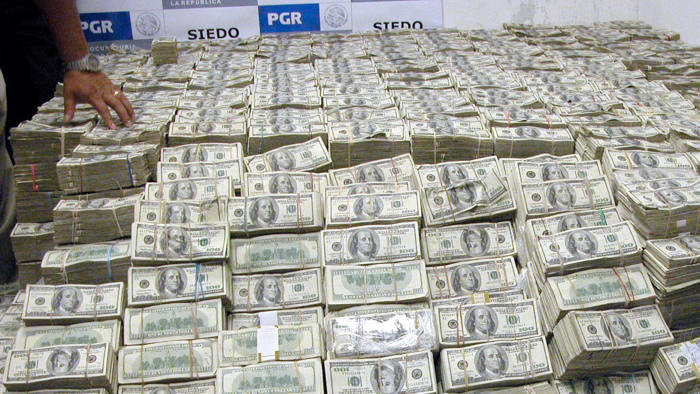 Over 200 million dollars confiscated to Mexican-Chinese businessman Zhenli Ye Gon are displayed in Mexico City