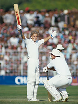 Gower in action against India in 1985