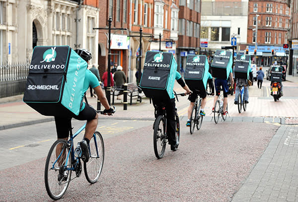 A team of Deliveroo riders in Leicester