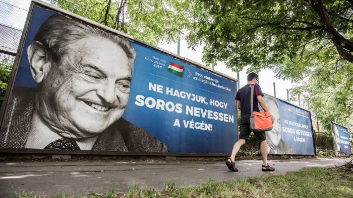 Anti-Soros posters are seen in Budapest, Hungary on 2017. July 5. Photo: Akos Stiller