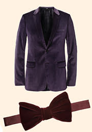 A velvet blazer by Burberry London and a bow tie by Lanvin