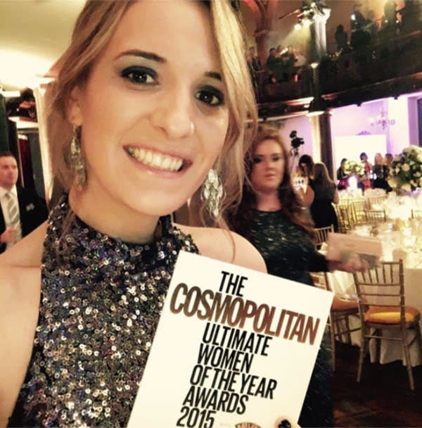At the Cosmopolitan Women of the Year Awards in 2015 after being named 'Ultimate Trailblazer'