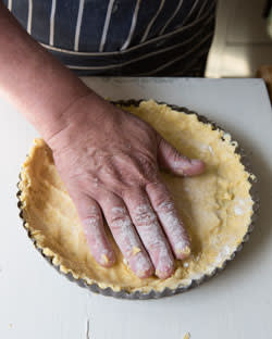 Dough placed on the tart ring