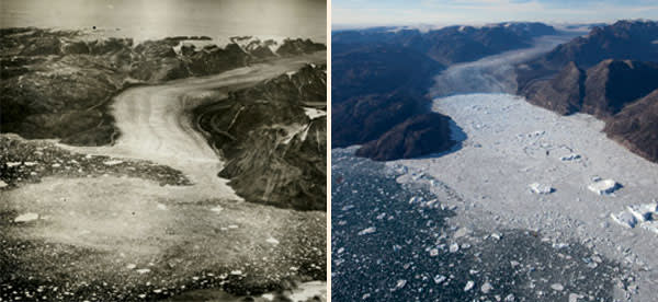 The Fenris glacier in the Sermilik fjord on the southeast coast of Greenland, photographed in 1932-1933 (left) and in 2012. The glacier has retreated by 5,000m, with the rate of retreat increasing rapidly in the past decade