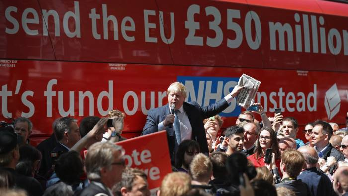 YORK, ENGLAND - MAY 23: Boris Johnson MP addresses members of the public in Parliament St, York during the Brexit Battle Bus tour of the UK on May 23, 2016 in York, England. Boris Johnson and the Vote Leave campaign are touring the UK in their Brexit Battle Bus. The campaign is hoping to persuade voters to back leaving the European Union in the Referendum on the 23rd June 2016. (Photo by Christopher Furlong/Getty Images)