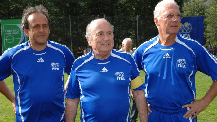 "FIFA President Sepp Blatter (C), UEFA President Michel Platini (L) and German soccer legend Franz Beckenbauer pose for a photograph during the so-called ""Sepp Blatter tournament"" in Blatter's home-town Ulrichen August 26, 2007. REUTERS/Jean-Bernard Sieber-ARC (SWITZERLAND) - RTR1T49P"