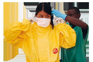 Joanne Liu visiting an Ebola treatment centre in Kailahun, Sierra Leone
