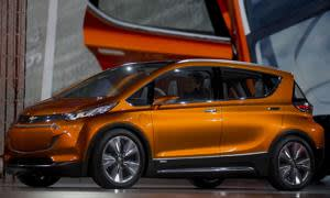 The General Motors Co. (GM) Chevrolet Bolt concept vehicle is unveiled during the 2015 North American International Auto Show (NAIAS) in Detroit, Michigan, U.S., on Monday, Jan. 12, 2015. General Motors is unveiling a new version of its plug-in hybrid Chevrolet Volt as gas hovers near $2 a gallon and the number of buyers who want a fuel-sipping vehicle shrinks. Photographer: Andrew Harrer/Bloomberg