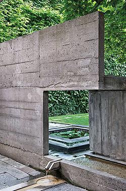 Cast concrete walls at Querini Stampalia, designed by Carlo Scarpa