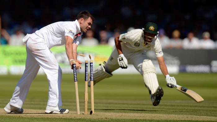 England's Anderson runs out Australia's Agar during the second Ashes cricket Test match at Lord's in London