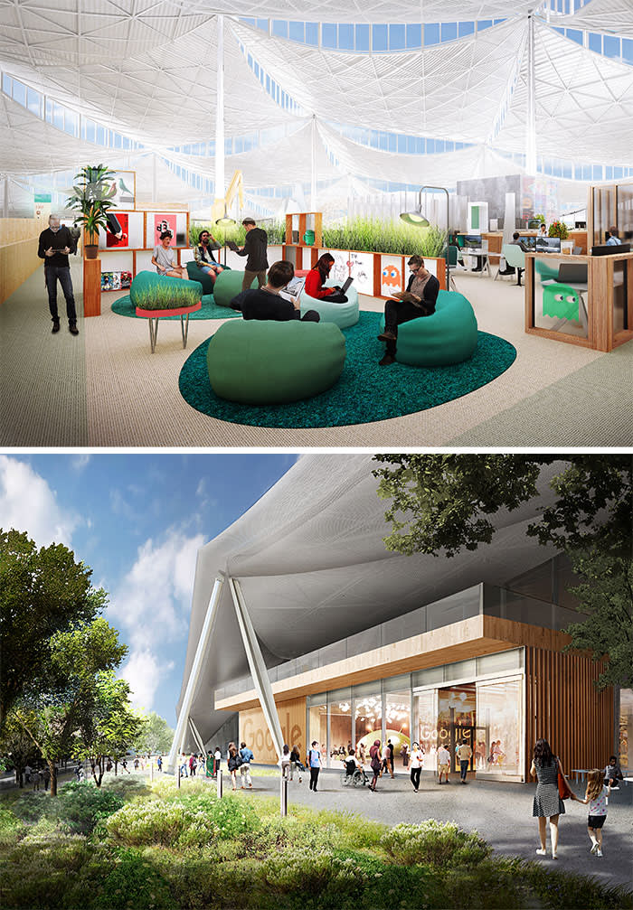 A tent-like canopy is part of the Bjarke Ingels and Thomas Heatherwick design for Google's new Mountain View offices