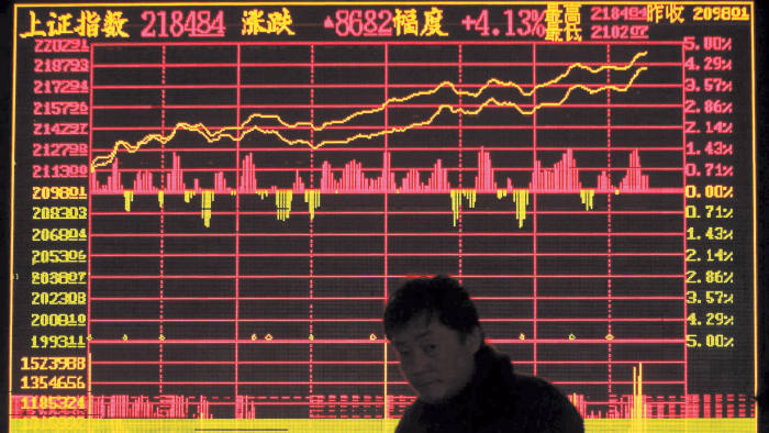 a stock exchange board in China