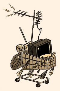 An illustration of an old TV set on a trolley