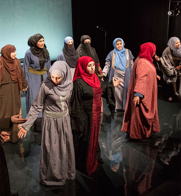 Syrian refugees in rehearsal