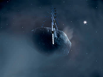 An artist's impression of Rosetta orbiting comet 67P
