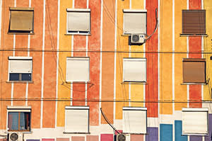 Brightly painted housing in Tirana