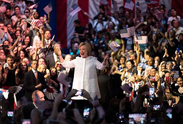 Hillary Clinton at a primary rally in Brooklyn, New York City, earlier this month