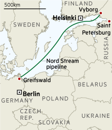 Map: Nord Stream pipeline