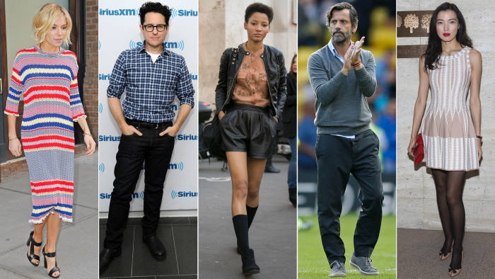 From left to right: Sienna Miller; J.J. Abrams; Lineisy Montero; Quique Sanchez Flores; Xin Li