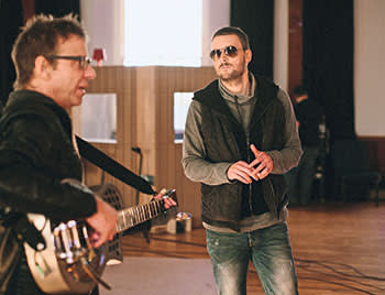 Country singer Eric Church in a recording studio
